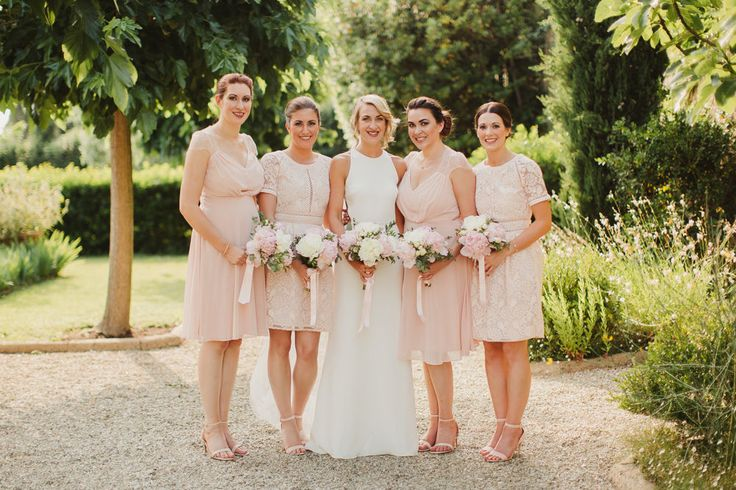 Bridesmaids in Pink ASOS Dresses | Outdoor Italian Wedding at Borgo Petrognano Planned by Tuscan Wedding Planners | Orleans Sarah Seven Backless Bridal Gown | Pink ASOS Bridesmaid Dresses | Pink & White Peonies Bouquet | Frances Sales Photography
