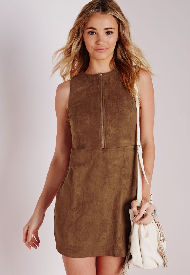 Missguided - Faux Suede Zip Front Shift Dress Tan
