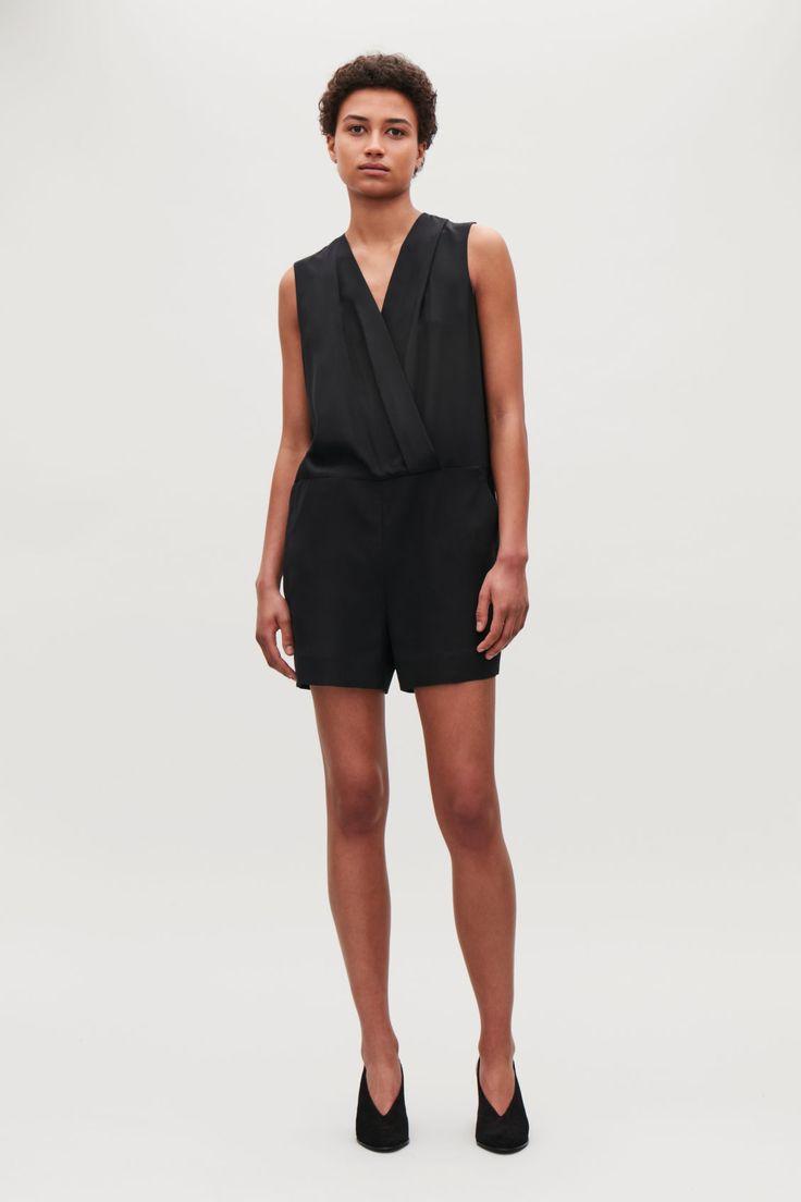 Cos sleeveless silk playsuit in black
