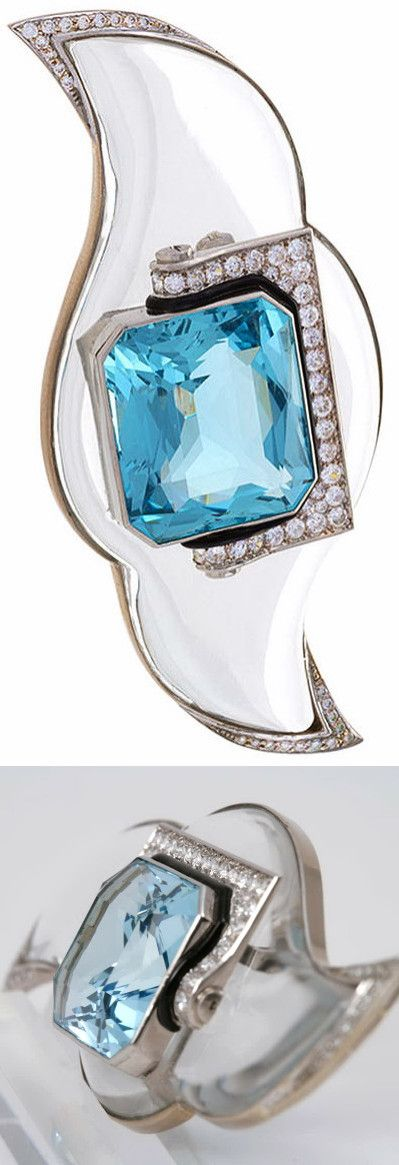 Mauboussin Art Deco Aquamarine Rock Crystal Diamond Platinum Brooch, circa 1930's.