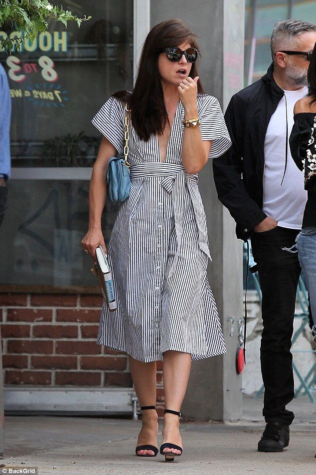 Where's her ring? Selma Blair opted for a flirty striped dress as she ran errands in West Hollywood on Wednesday