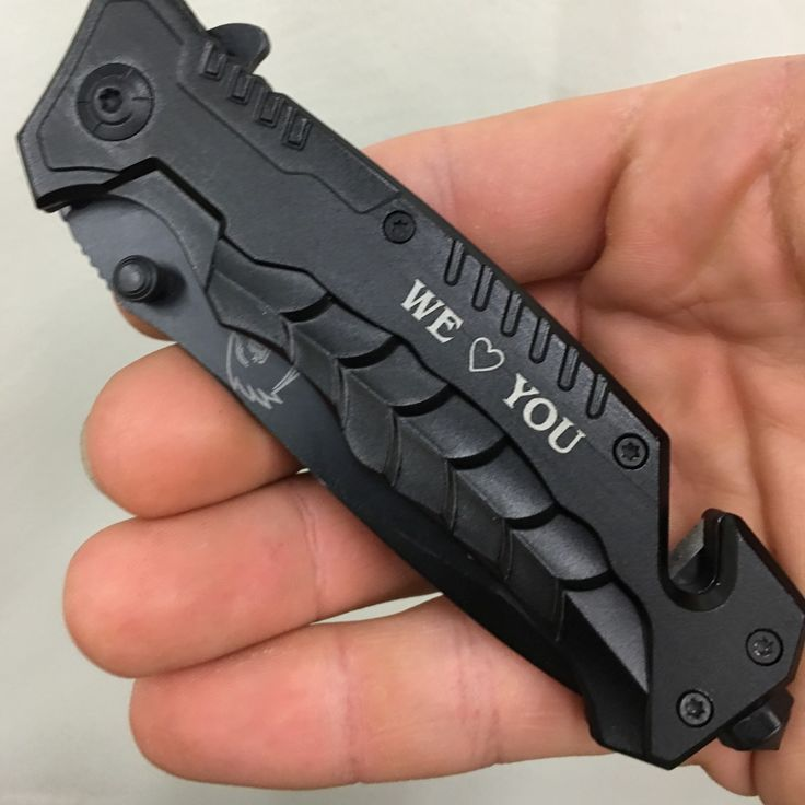 We love you, personalized knife, sprint assisted falcon rescue knife, window breaker, seatbelt cutter, stainless steel.