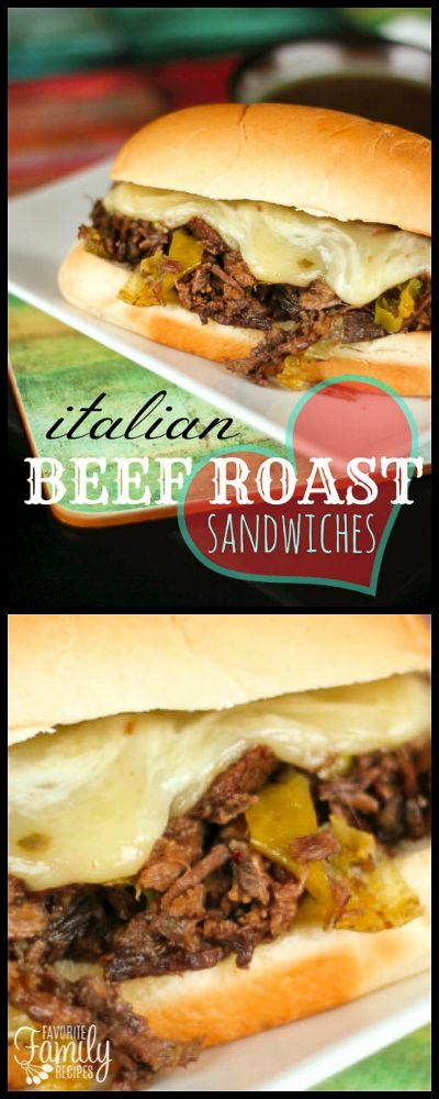 Italian Beef Roast Sandwiches are my new favorite way to do an Italian roast beef.  The beef is slow cooked in savory juices with a little kick of spice. via @favfamilyrecipz