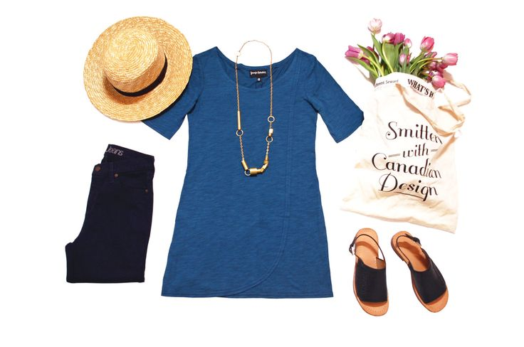 Bamboo organic cotton overlay tunic in teal shown with straw hat, Yoga Jeans and shoes by Fluevog.