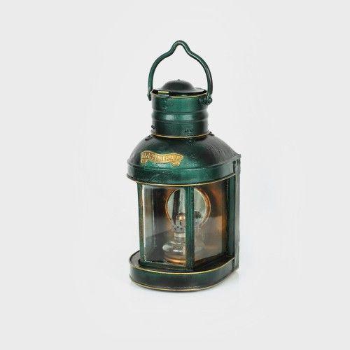 Felinar de catarg, sfârșitul sec. XIX alamă, sticlă, h=39 cm Preţ de pornire: € 100