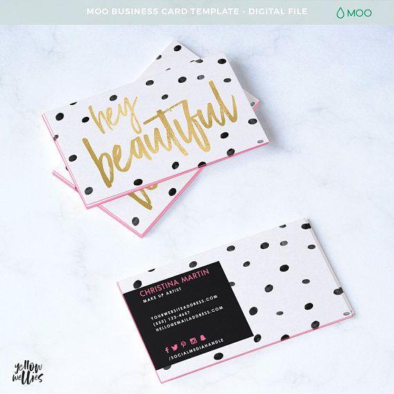 Make Up Artist Business Card Hey Beautiful Moo Template Photoshop Template Pink Business Card Moo Business Cards Business Card Template