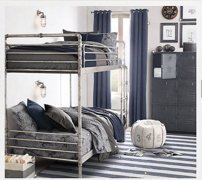 Love the industrial style bunk bed!  Great for a boys room.