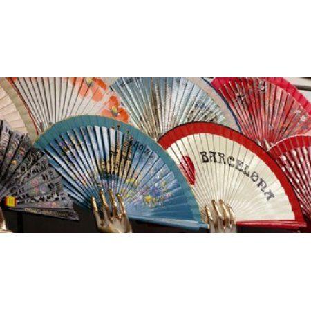 Fans for sale in souvenir shop Barcelona Catalonia Spain Canvas Art - Panoramic Images (24 x 12)