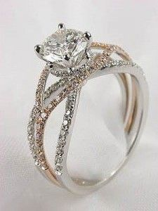 Mark Silverstein diamond engagement ring with white and rose gold! Want. It!