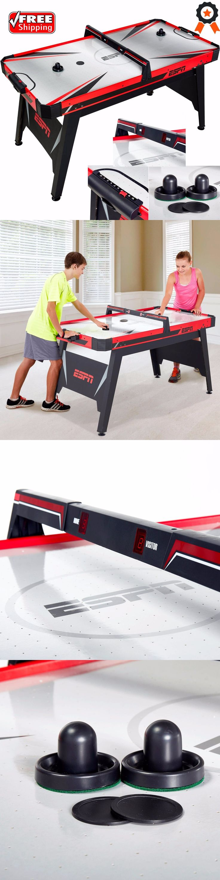 Air Hockey 36275: Espn 60 Air Hockey Table Powered 2 Pucks Pushers Game Sleek Red Puck Top Led BUY IT NOW ONLY: $305.64