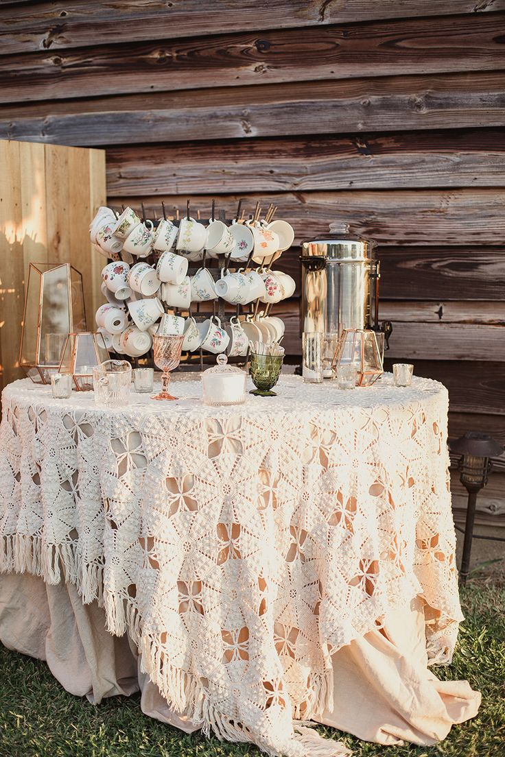shaun menary; winding ridge b&b; GRO Designs; texas wedding; outdoor reception; tea and coffee station; vintage tea cups; tea cups hanging;