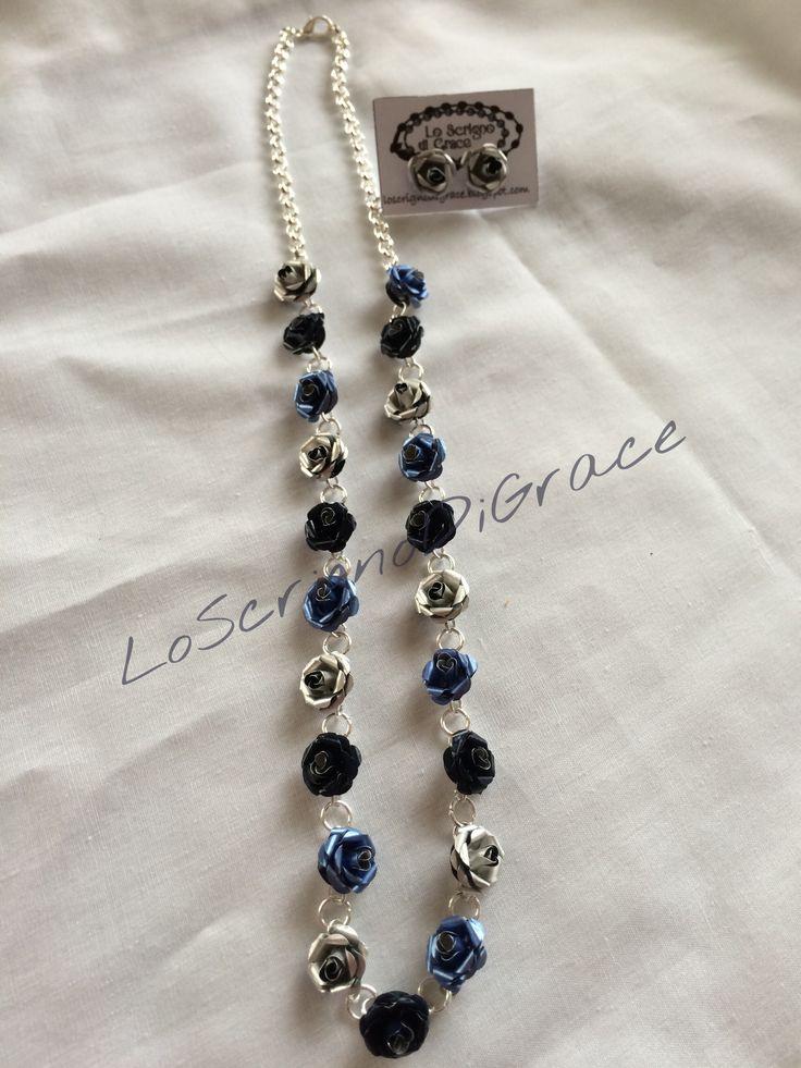 Collana roselline capsule Nespresso argento-blu-azzurro