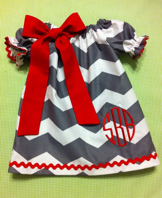 Babies/Toddlers/Girls Valentine's Day Chevron Peasant Dress with Sash on Etsy, $25.00