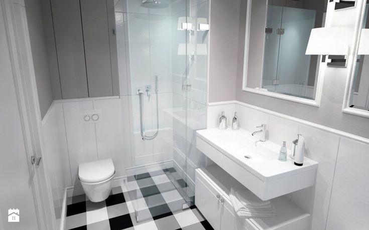 BIAŁYSZARYCZARNY - Mała łazienka w bloku bez okna, styl skandynawski - zdjęcie od DOMagała Design