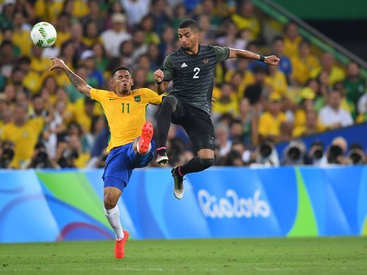 Brazil forward Gabriel Jesus (11) goes up for the ball