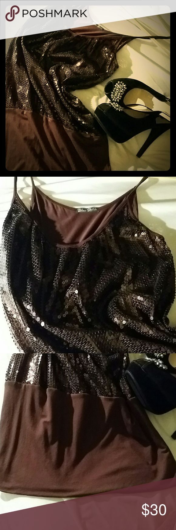 NWOT. Perfect New Years eve sequin tunic dress NWOT. Perfect New Years eve party sequin tunic dress dark bronze and brown. Blue Sketch Tops Tunics