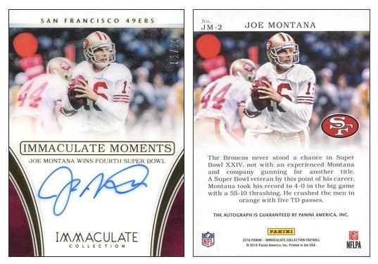 Joe Montana 2016 Panini Immaculate JM-2 Immaculate Moments (AU) (4th SB) (#01/10)