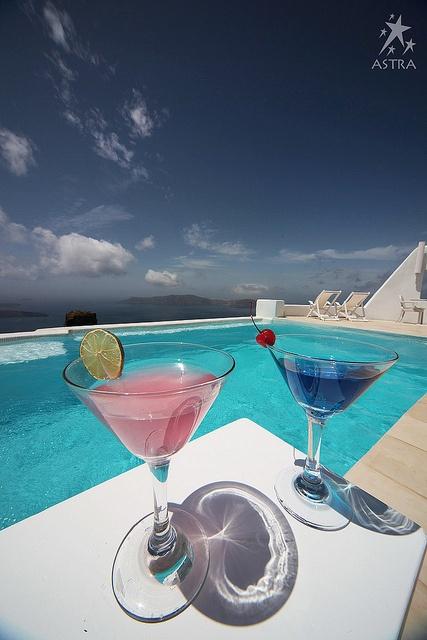 Cosmo anyone? Pool Area-Astra Suites, Imerovigli, Santorini, Greece