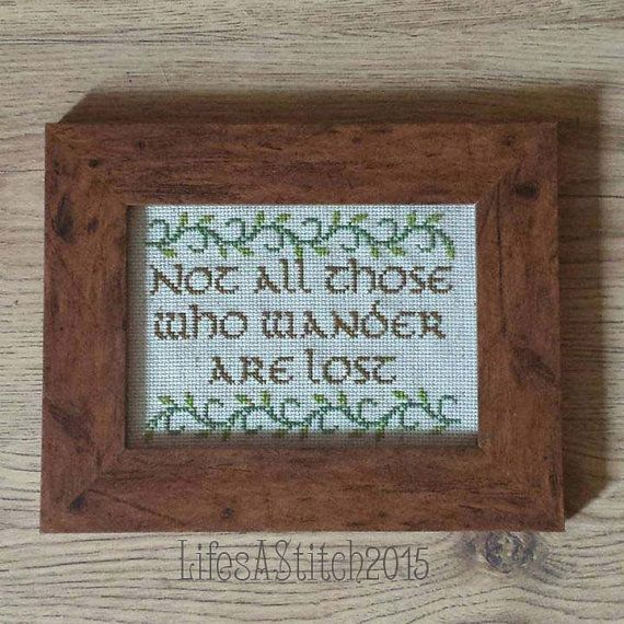 Lord Of The Rings: 'Not All Those Who Wander Are Lost' - Framed Cross Stitch