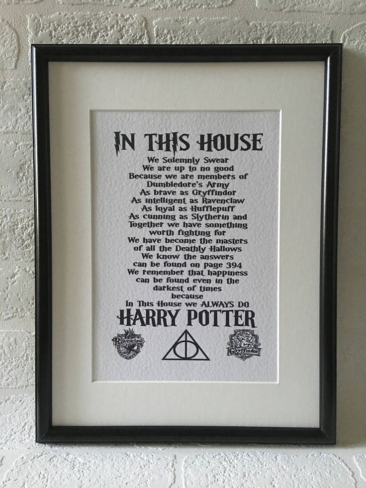 Description In This House We Always Do Harry Potter framed print, a great gift idea for any Harry Potter fan! The print itself is A4 Size. We use a luxury hammered 300gsm white cardstock to print and have a selection of frames to choose from: Standard Black or White Frame - 21cm x 30cm (8 1/2 x 11 3/4) Mounted Black or White Frame - 30cm x 40 cm (11 3/4 x 15 3/4) Colours may vary due to different screen resolutions Delivery This gift is handmade to order We usually ...