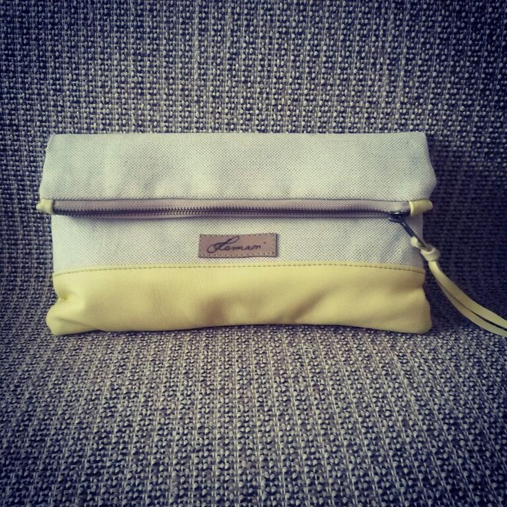 Canvas+leather clutch