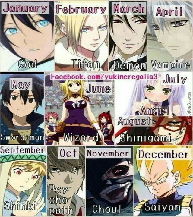 Anime type birthday game, text, Anime characters, crossover, Yato, Noragami, Annie, Attack on Titan, Sebastian, Black Butler, Vampire Knight, Zero, Kirito, Sword Art Online, Lucy, Fairy Tail, Kanade, Angel Beats!, Grell, Black Butler, Yukine, Noragami, Light, Death Note, Kaneki, Tokyo Ghoul, Vegeta, Dragonball Z; Anime