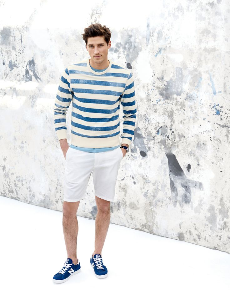 "MAY '15 Style Guide: J.Crew men's lightweight sweatshirt in distressed stripe, 9"" club short in lightweight chino, and New Balance for J.Crew 691 low-top sneakers."