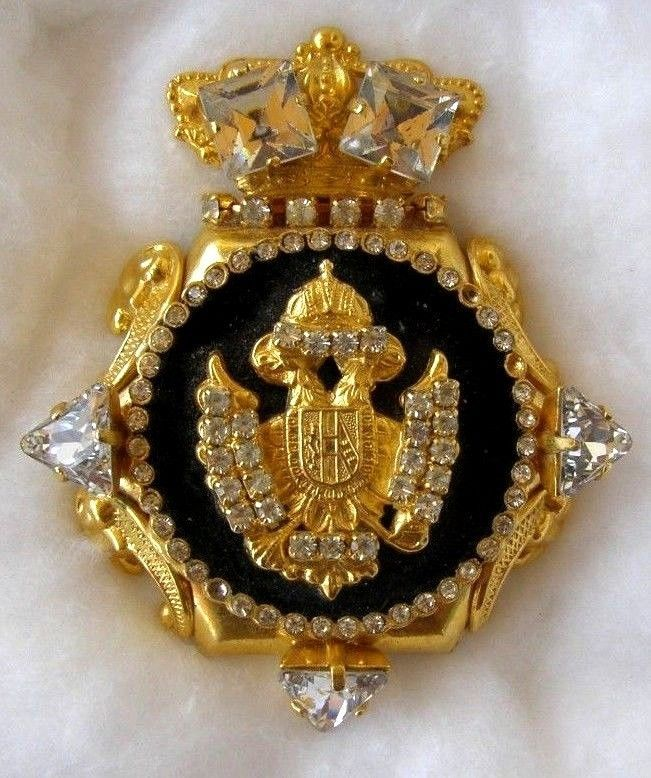 Vintage royal crown brooch imperial Double Eagle head brooch/Rare imerial brooch