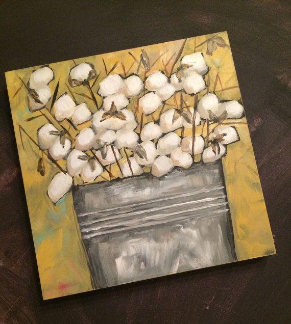 Art by Trish Jones Acrylic cotton painting on wood measures 10x10X 7/8