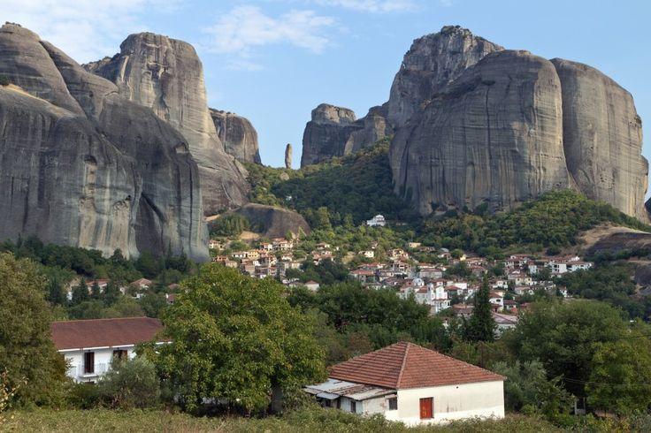 Kastraki village in Kalambaka city, below Meteora rock formations