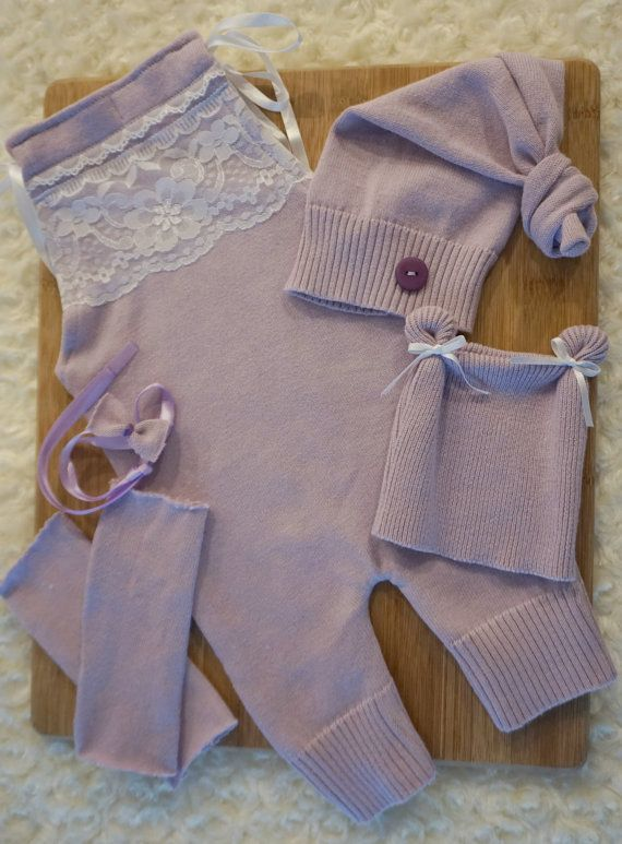 Newborn Upcycled Romper Top Knot Hat Bear by JazzCraftBoutique