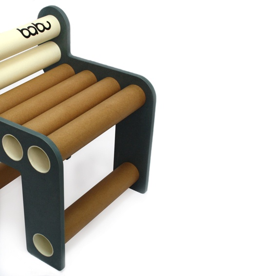 Chara - babu™ chair for kids (from 3 years) • Material: MDF + cardboard tube • Handmade design from non conventional materials; each model is unique because of the detail in the finishing of each piece.