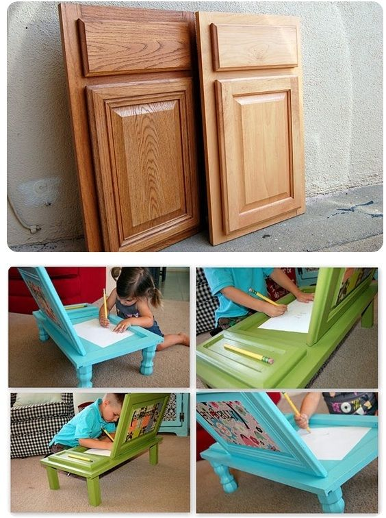 What a great idea! Cupboard Doors turned into a child's arts and crafts table AND it can be used as a table to eat at too. Height of table legs is up to you.