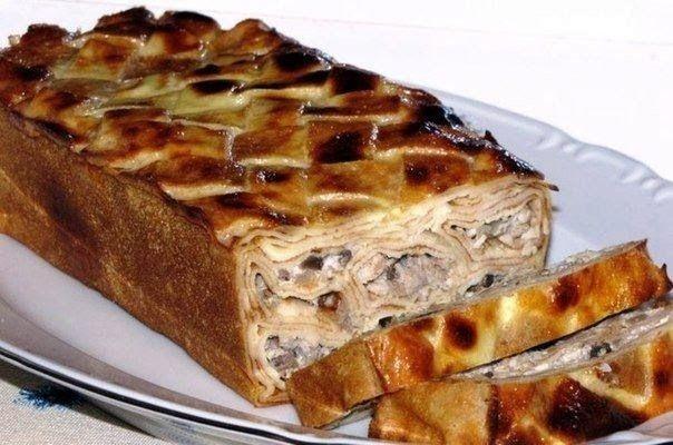 Шустрый повар.: Блинный пирог с мясом и грибами