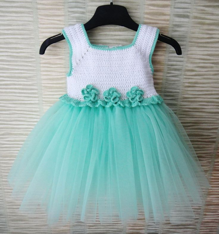 Mint and white Handcrafted Baby Tulle Dress with Crochet Top.Tulle dress for girls with crochet bodice. Tutu dress for little girl. by 3FlowerGirl3Boutique on Etsy