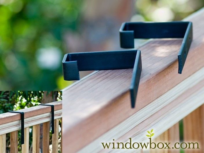 2in. x 4in. Deck Rail Bracket Pair | Use w/ Cages & Tapered Iron Window Boxes - Brackets for Deck Railings - Window Box Brackets, Plant Stands & Plant Caddies - Windowbox.com