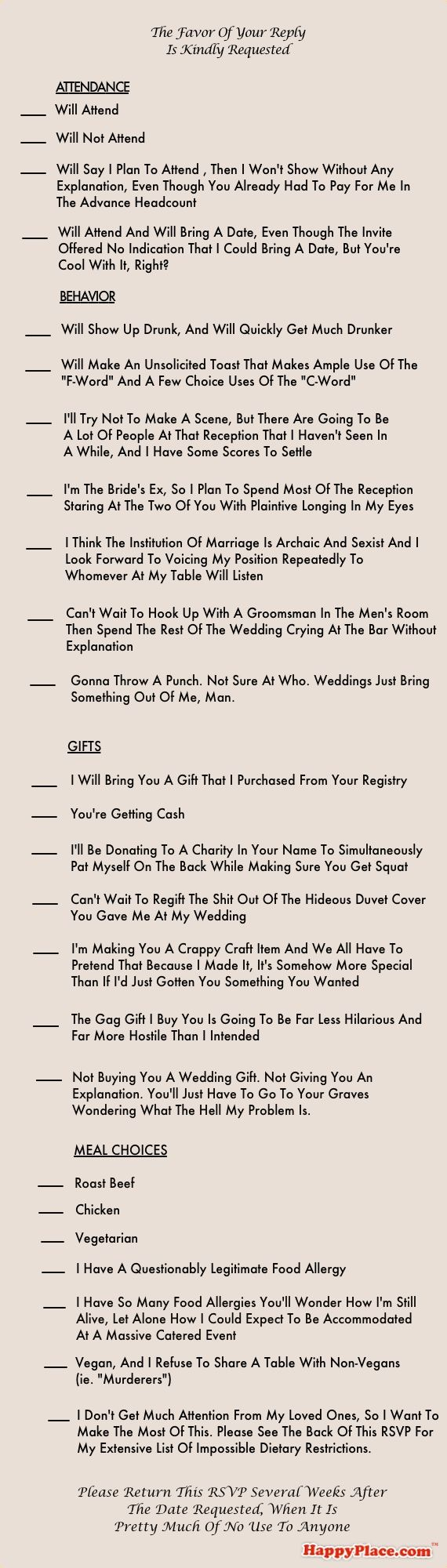 The Most Comprehensively Honest Wedding RSVP In The History Of Marriage | Happy Place: Comprehensively Honest, Wedding Ideas, Weddings, Wedding Invitations, Card, Funnies, Honest Wedding, So Funny