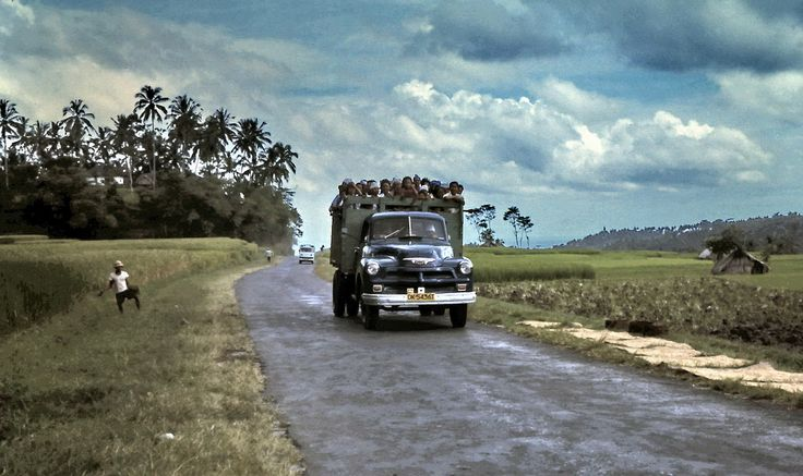 Bus-Truck carrying crowds to a ceremony at Besakih, Bali, Indonesia in 1975