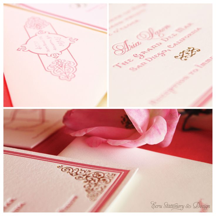 Moroccan Style Pink u0026 Gold Letterpress Invitations by