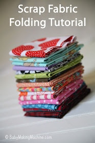 Folding Scrap fabric into the same size for organization