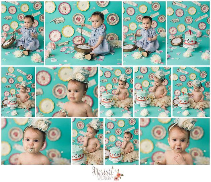 Alice in Wonderland themed first birthday milestone cake smash photo shoot | Photo by Massart Photography of Rhode Island