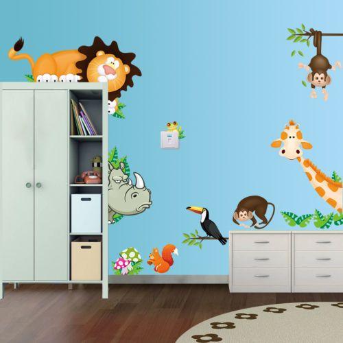 Wandtattoo-Wald-Sticker-Lustige-Tiere-Zoo-Wandbild-Affe-Gross-Kinderzimmer-XXL