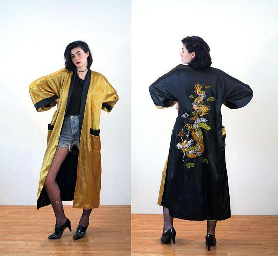 Kiku, Vintage Kimono Robe, Dragon Robe, Black & Gold Kimono, Reversible Kimono, 50s Satin Kimono, Asian Duster Coat, Dragon Lounge Robe