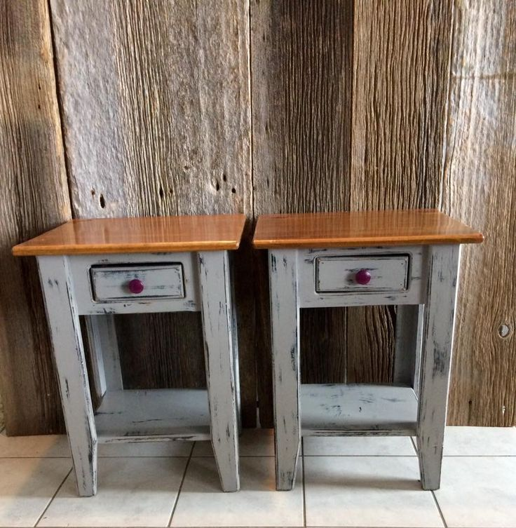 Matching nightstands painted and distressed light grey