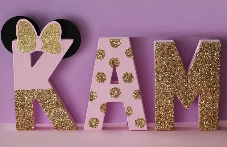 Pink and Gold Minnie Mouse Birthday Decorations - Glitter Letters - Self Standing - Stand Alone - Minnie Mouse Letters - Cake Table Letters by PrettyLittlePartyCo on Etsy https://www.etsy.com/listing/256555120/pink-and-gold-minnie-mouse-birthday