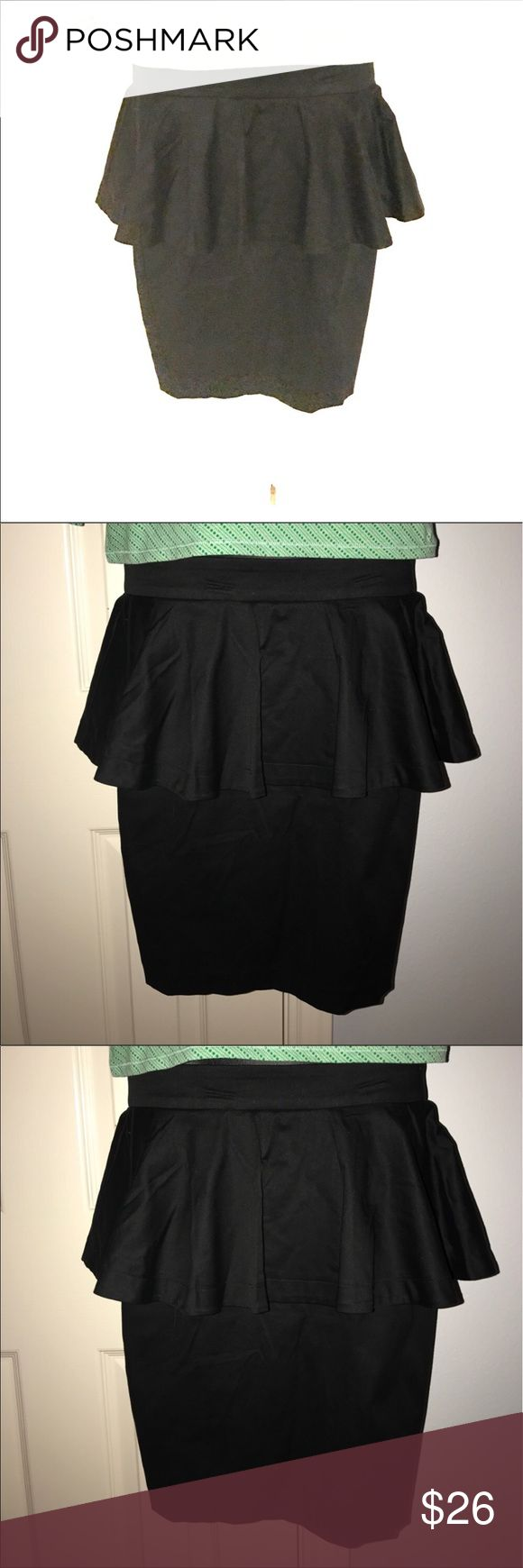 """XXI black pencil peplum skirt sz M XXI brand peplum pencil skirt in basic black to match everything. Size medium. Zip back. 97% cotton, 3% spandex. Dry clean. GUC. Bundle to save even more. Measures almost 20"""" in length and approximately 27.5"""" in the waist. Bundle with other items in my closet to save even more. Skirts Pencil"""