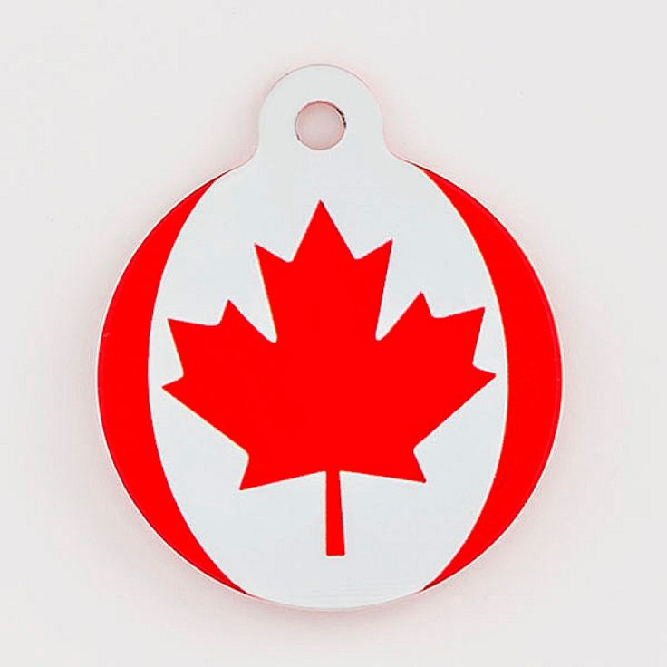 Canadian Flag Large Pet Tag - This cool Canadian pet tag is made of aluminum and comes with a split ring so it's ready to attach onto your pet's collar. It is light weight and durable. With your pet's name, address and phone number engraved on the tag, there is no need to be worried should they become lost.