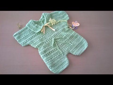 como hacer en crochet o ganchillo un enterito para bebé en hilo de algodón.   aprender-crochet.com