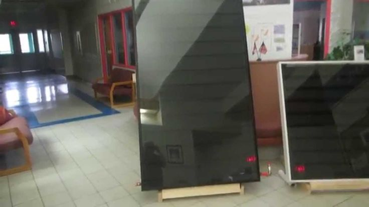 Call Kris in Saskatoon at 306 649-0350  One 4x8 Panel provides heat for 500 Sqft.  Costs $2495 + $50 for delivery in Saskatoon & Area.   Water Heat Solar Panel 4x8 Full Size Panel - For Residential or Commercial buildings with HVAC Ducting, Boiler or Radiant Floor Heat, and Water Heat. It is designed to be installed on a south facing wall to catch the low winter sun, or can be installed on a sloped roof to catch summer sun for heating your swimming pool.  It uses electric water pumps.