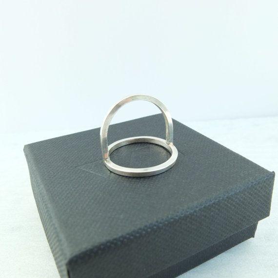 minimalistische open cirkel ring sterling zilver door WOLFjewels